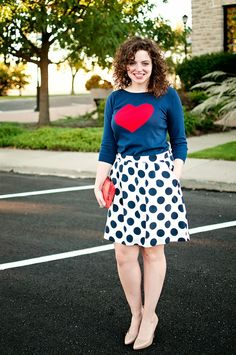 Polka dots + hearts-- I love the pattern mixing! #pattern #fashion #style #wiww #polkadots #hearts
