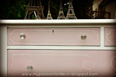 vintage dresser painted with Antoinette and Pure White Annie Sloan chalk paint