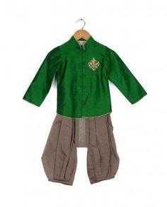 #Exclusivelyin, #IndianEthnicWear, #IndianWear, #Fashion, Little Bottle Green Nehru Jacket with Embellished Motif