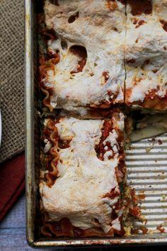 butternut squash, squash lasagna, spinach lasagna