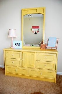 amazing dresser makeover! I am thinking of painting my Grandma's old dresser yellow.  Love this!