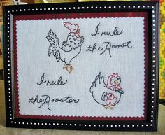 embroidery rooster and hen