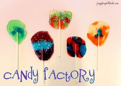 Have fun with your kids by creating your own candy factory.  Smash hard candies, create your own color combinations and melt them in the oven.  It's easy to do and fun for all! #lollipops #homemade #candy