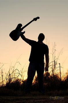 Candy Bourne Photography Senior Boy Sunset Shadow with guitar. Love this pic!