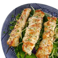 Lemon Garlic Chicken kabobs.  This would make a really good marinade for baked chicken, too.