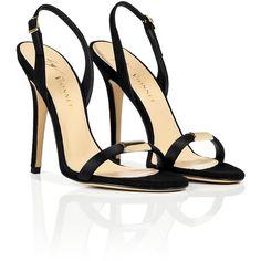 VIONNET Black Suede Slingback Sandals ($390) ❤ liked on Polyvore
