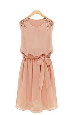 So Cute! Beads Decorated Sleeveless Chiffon Dress #Pretty #Pink #Beaded #Summer #Fashion