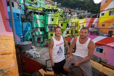 The favelas or slums of Rio de Janeiro in Brazil are famous for their gangs, drug dealing and violence but the favela of Santa Marta has been given a colourful make-over by two Dutch artists. Jeroen Koolhaas and Dre Urhahn have enlisted the help of local youths who have turned the slum from drab to fab