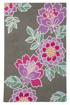 Add color and style to your #nursery with this pretty #floral #rug.