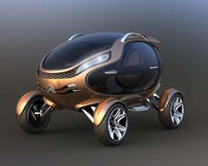 Citroen Eggo conceptual car is powered by four electric motors-one in each wheel and solar panels on the roof-seats two