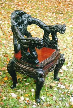 Antique Chinese furniture carved dragon chair