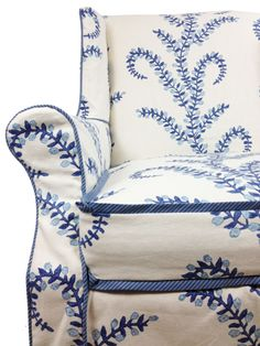 . beach house furniture, blue fabric, seat, cushion, master bedrooms, chair slipcovers, wingback chairs, blues, john robshaw