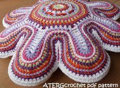Crochet pattern flower cushion by ATERGcrochet by ATERGcrochet