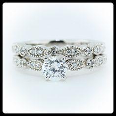 Vintage Wedding Set Moissanite with Diamonds in 14k Gold - Ring Name: Sweet Bliss on Etsy, $1,615.00