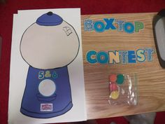 General Mills Box Top contest.  I only used the cricut for the words and gumballs. Each gumball was worth 25 box tops. Each grade had their own gumball machine to fill up. At the end of the week, the class with the most gumballs won an ice cream party.
