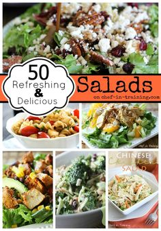 OVER 50 Refreshing and Delicious Salad recipes at chef-in-training.com... This list is perfect for all the fresh produce::