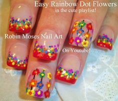 Easy Rainbow Flower Nail Art for beginners