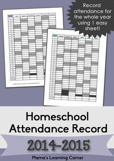 Free Printable Homeschool Attendance Record 2014-2015