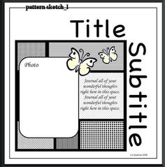 Download a Cricut Cut file made from this scrapbook layout sketch (Pattern Sketch 1)