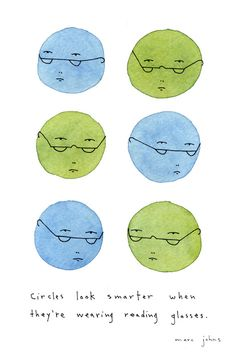 circles, glasses, magazines, marc john, illustr