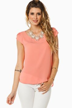 Tuula Blouse in Pink / ShopSosie #pink #tulip #short #sleeve #blouse #shopsosie