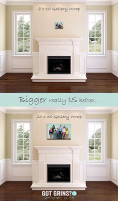 Bigger is better.  What size canvas gallery wraps to order for your pictures - portraits. Wall Displays example by Kim Carpenter at Got Grins? Photography using the fireplace template from www.arianafalerni.com/design