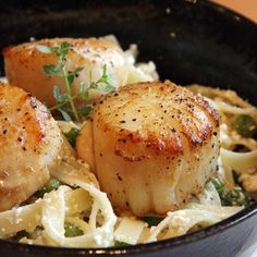 """Easy, Peasy, And Lemon Squeezy… – Lemon Ricotta Pasta W/ Seared Scallops: perfect for Spring. Two to three minutes before the fettucine is ready to be drained, start searing the scallops in a pan coated with butter and olive oil - the fat should be """"foamy"""" and cook each side for about 2 minutes or so each. We added more peas to this recipe - delicious with the ricotta and lemon - easy and made from scratch in under 30 minutes. 10/10"""