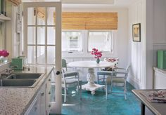 Turquoise concrete floors --> using what you already have