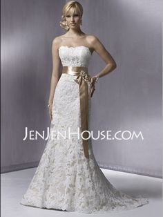 Mermaid Strapless Chapel Train Satin  Lace Wedding Dresses With Lace  Sashes  Beadwork (002000431)