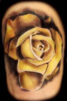 Realistic red rose tattoo tattoos pinterest for Yellow tattoo on dark skin