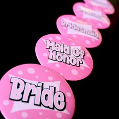 Pins for the bachelorette and her bridal party! #bachelorette #party #pins