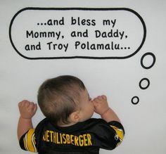 Steelers fan crib sheet, love this sheet!!! In fact, I often pray for Troy Polamalu, too. HAHAHA