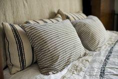 pillow, bed, stripe, linen