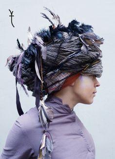 Experimental headwear by the Latvian brand tundra HATA, Riga.