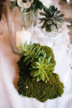 Moss and succulents. Photography by jacshoot.com  Read more - http://www.stylemepretty.com/2013/08/12/los-angeles-wedding-from-jac-photography/