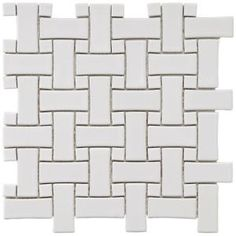 $6.95 Basket Weave White 9-3/4 in. x 9-3/4 in. Porcelain Mosaic Floor and Wall Tile-FKOBWM60 at The Home Depot
