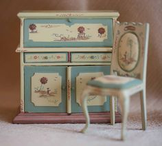 Dollhouse Miniature, Bespaq, Furniture, Desk and Chair, Shop, Display, OOAK, 1:12 Scale, Shabby Chic. $99.00, via Etsy.