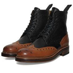 Grenson Fred boot, black & cognac