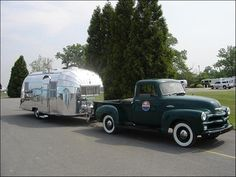 vintage truck and airstream camper