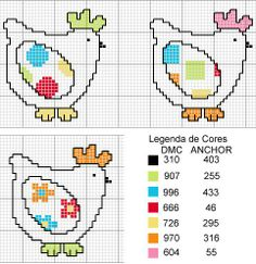 these little ladies would be cute cross stitched on a kitchen towel! cross stitch chicken, punto de cruz gallinas, crossstitch, bordado, kitchen cross stitch, cross stitch patterns, cross stitches, cross stitch kitchen patterns, kitchen towel