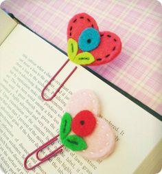 clips com marcador de feltro #sew #felt #patterns #bookmarks