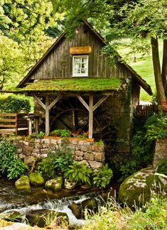 cottag, design homes, water wheels, little houses, country cabins, future house, sheds, gardens, bathroom designs