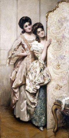 """Curiosity"" by Thomas Benjamin Kennington (1856 - 1913). #classic #art #painting #women"