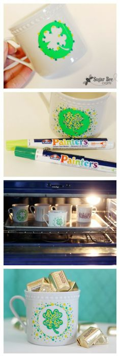how to make Shamrock Marker Mugs for st patricks day ~ with tips!  Sugar Bee Crafts
