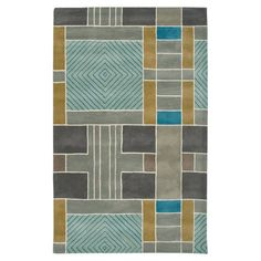 Seville Rug living rooms, color palettes, area rugs, colors, geometric designs, wool rugs, geometr motif, light, blues