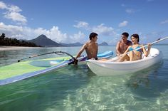 Winsurfing and canoeing at La Pirogue, Mauritius