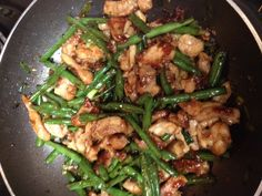 Panda Express' String Bean Chicken recipe.  I just made this tonight. . . OMG!!  just like Panda Expresses!        http://meemoskitchen.blogspot.com/2010/09/panda-express-string-bean-chicken.html#axzz1nPxv5cW9