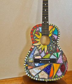 stained glass mosaic guitars | Stained glass mosaic guitar Illumination by amcarzoli on Etsy