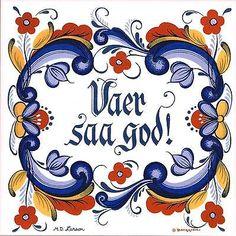 """Norwegian Tile Trivet """"Vaer Saa God!"""" 6"""" X 6"""" Cork backing by Berggren"""