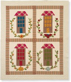 Houses, folk art pattern,  by Joanna Figueroa, Lisa Quan | Martingale